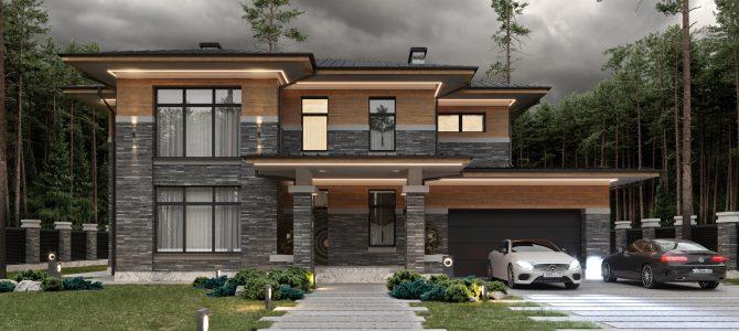 «Brigde House 2». Prairie/Wright style House