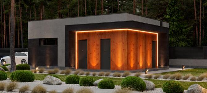 «1 Forest House». Prairie/Wright-style garage